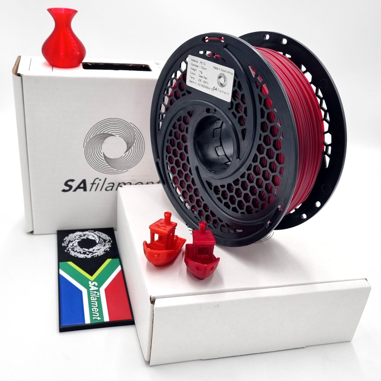 Translucent Deep Red PetG Filament, 1Kg, 1.75mm by SA Filament