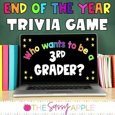 End of the Year Trivia Game Kindergarten-3rd grade *PowerPoint & Google Slides*