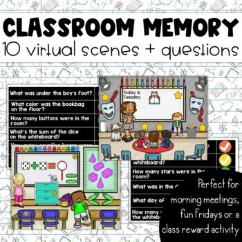 Classroom Memory: 10 Virtual Rooms & Questions Morning Meetings Brain Breaks