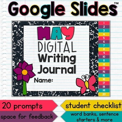 May Digital Writing Journal for Google Slides with Interactive Checklist