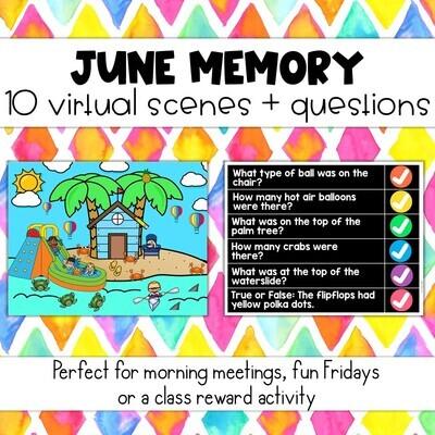 June Memory: 10 Virtual Rooms & Questions Morning Meetings Brain Breaks