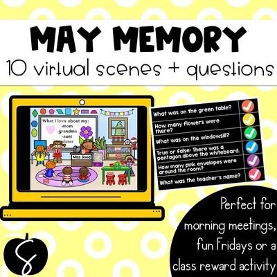 May Memory: 10 Virtual Rooms & Questions Morning Meetings Brain Breaks