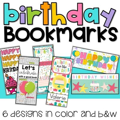 Birthday Bookmarks in Color and B&W with personalized option