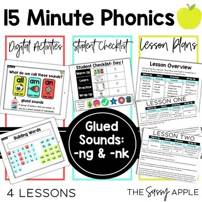 Glued Sounds -nk & -ng 15 Minute Phonics 4 Lessons Interactive PPT Google Slides