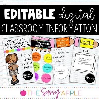 Editable Digital Class Info Meet the Teacher Google Slides