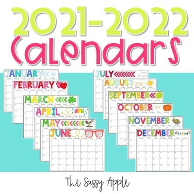 2021-2022 Printable Monthly Calendars in Color & Black and White