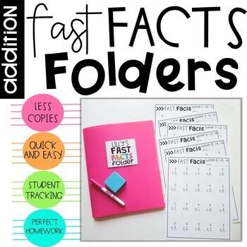 Addition Fast Fact Folders Math Fact Fluency