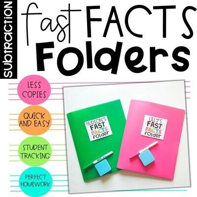 Subtraction Fact Fluency Fast Fact Folders