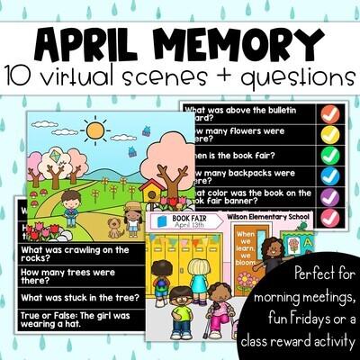 April Memory: 10 Virtual Rooms & Questions Morning Meetings Brain Breaks