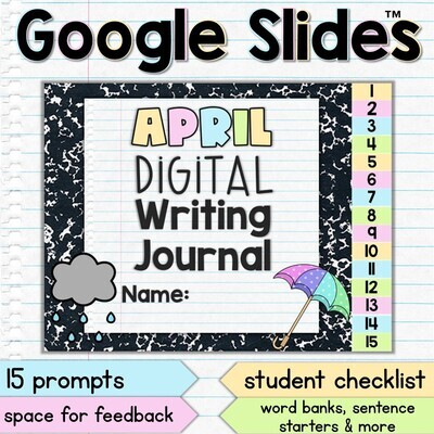 April Digital Writing Journal for Google Slides with Interactive Checklist