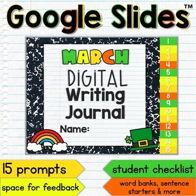 March Digital Writing Journal for Google Slides with Interactive Checklist