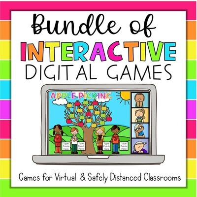 Interactive Digital Games Bundle Distance Learning Virtual Meeting Google Slides