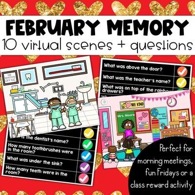 February Memory: 10 Virtual Rooms & Questions Morning Meetings Brain Breaks