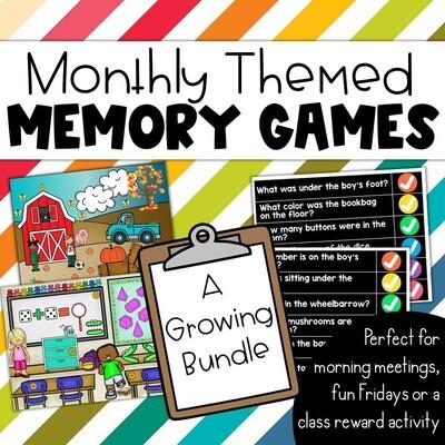 Digital Memory Games Monthly Themed & Questions Brain breaks, morning meetings