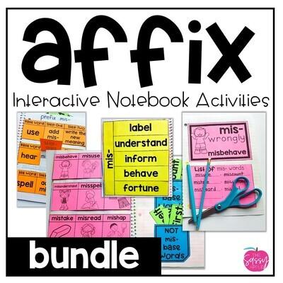 Prefix & Suffix Interactive Notebook Activities Bundle re, mis, dis, un, & more!