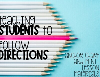 Following Directions Activities: Lesson Plan, Reading Passage, Anchor Chart
