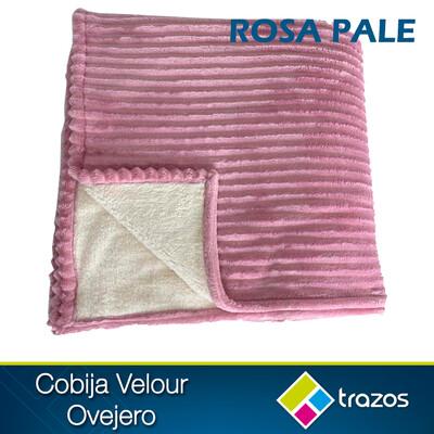 Cobija Velour ovejero Rosa pale