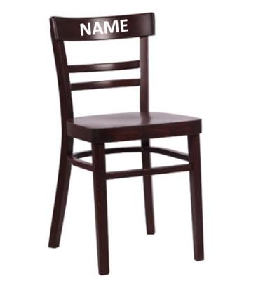 Bistrostuhl mit Namensschild