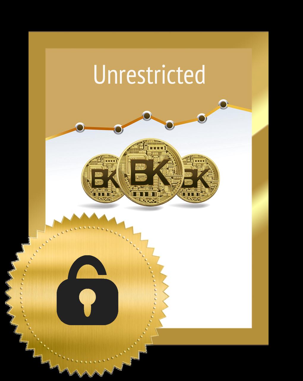 Unrestricted Blockkoin: 1 BK-Koin = $1.88 Sold in Blocks of 10