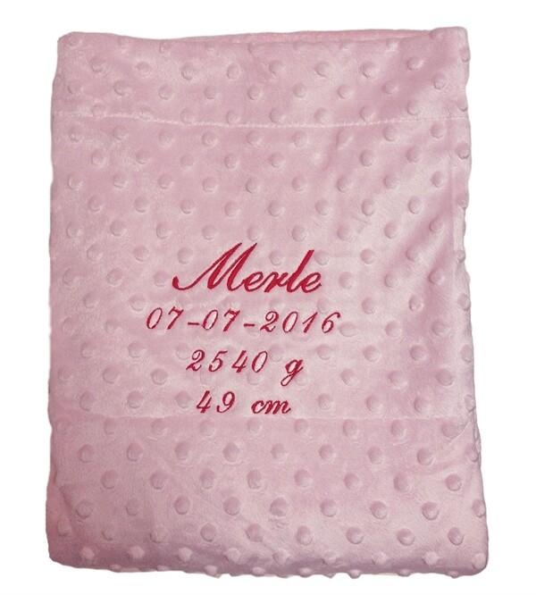 Babyfilt - med namn - rosa