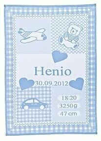 Personlig Babyfilt med namn. Dekor: Bil