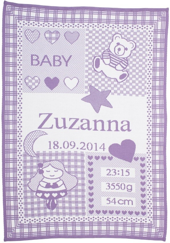 Personliga babyfilt med namn och stjärntecken. Jungfrun