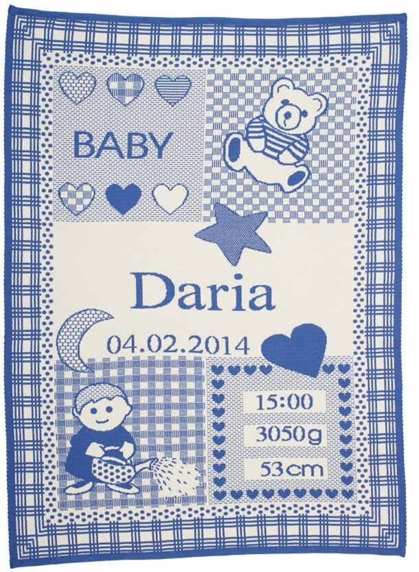 Personliga babyfilt med namn och stjärntecken. Vattumannen