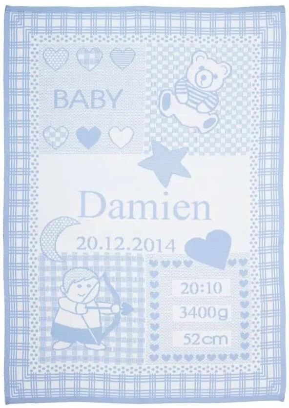 Personliga babyfilt med namn och stjärntecken.  Skytten