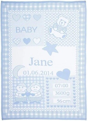 Personliga babyfilt med namn och stjärntecken. Tvillingarna