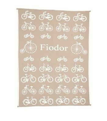 Cyklar - Baby filt med barnets namn. 90x120cm