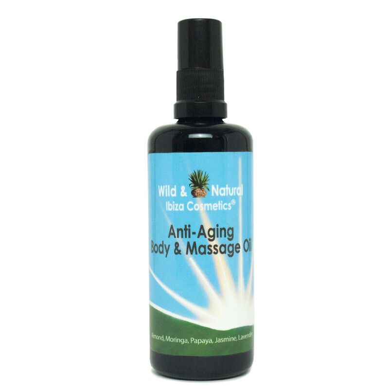 WELL-AGING BODY & MASSAGE OIL with a wonderful scent of JASMINE PAPAYA + MORINGA +ALMOND+ LAVENDER 100ml Violet Glass