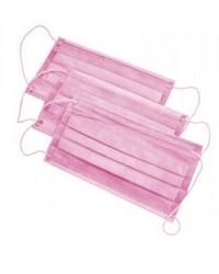 Маски защитные трехслойные розовые, 50 шт.
