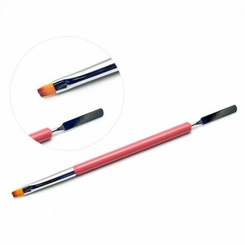 Кисть с лопаткой для полигеля розовая