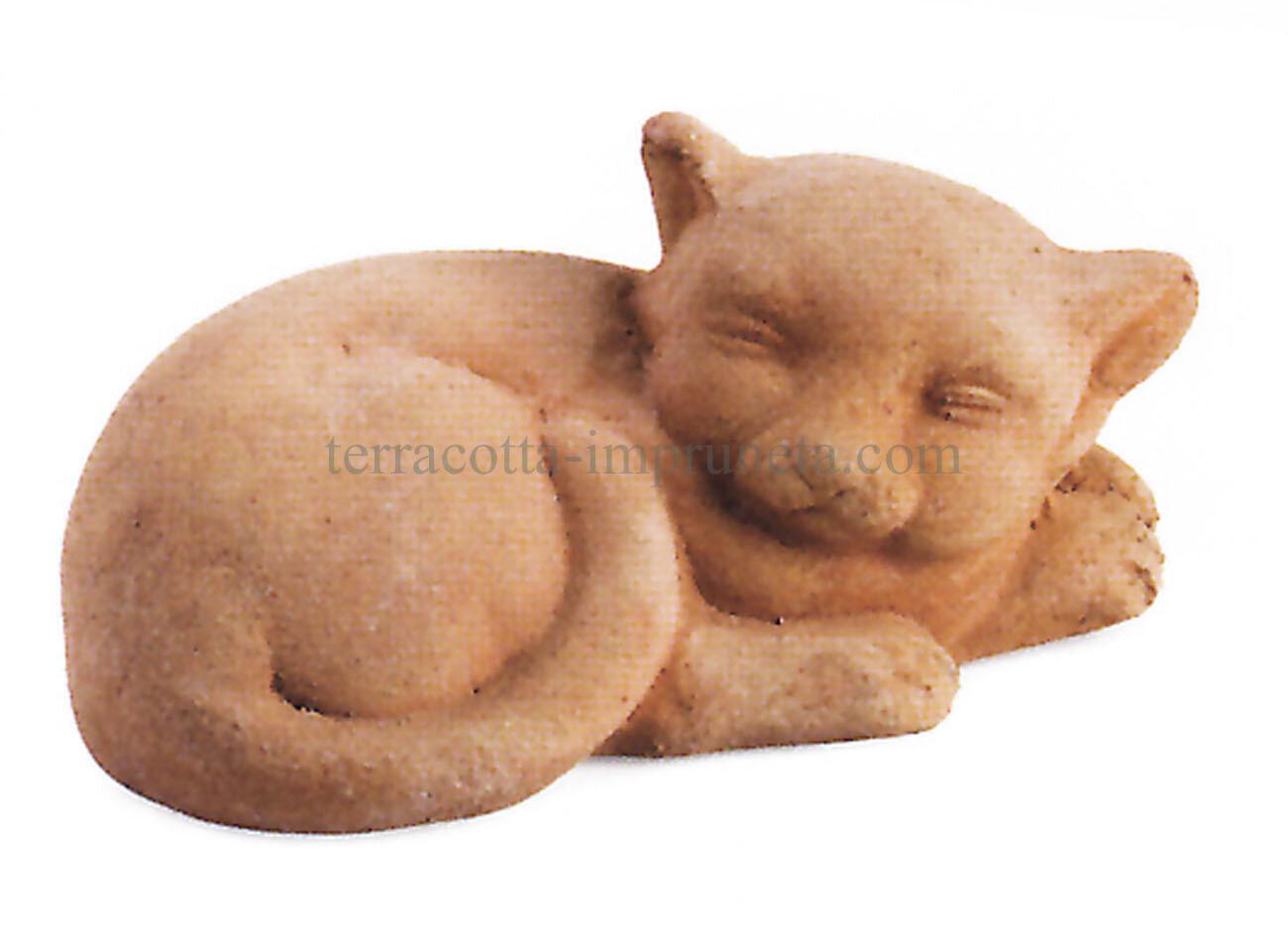 Gatto sdraiato- Die schlafende Terracotta-Katze