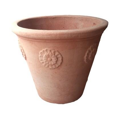 Vaso con rosette - Kleiner Terracotta-Topf mit Rosette