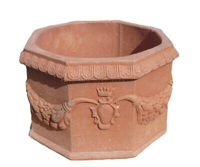 Ottagono ornato- Verzierter achteckiger Terracotta-Topf