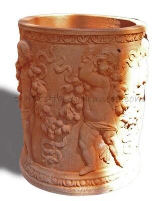 Cilindro alto putti - Hoher Terracotta-Zylinder mit Putten