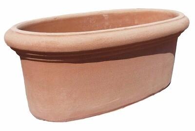 Fioriera ovale - Schlichte ovale Terracotta-Schale
