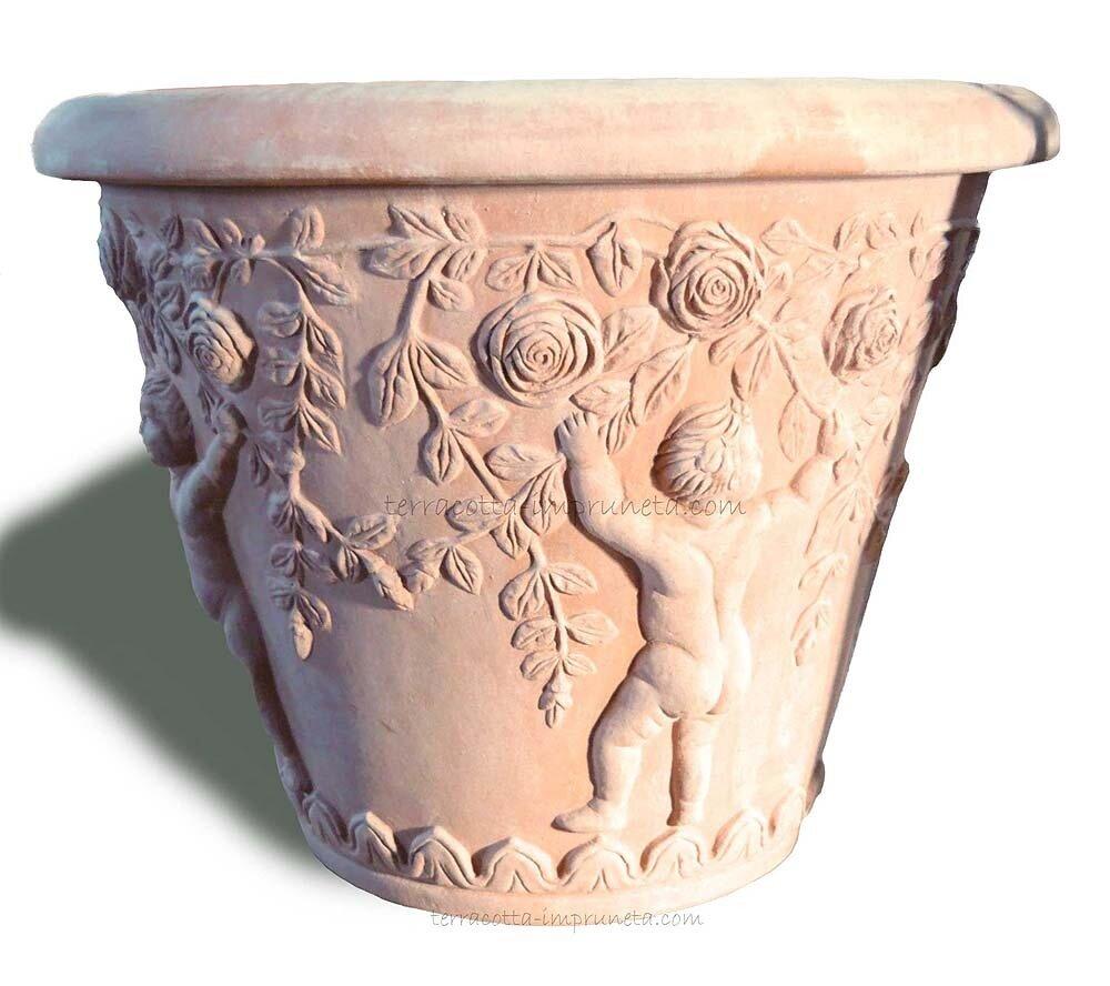 Vaso con putti e rose - Vase mit Putten und Rosen