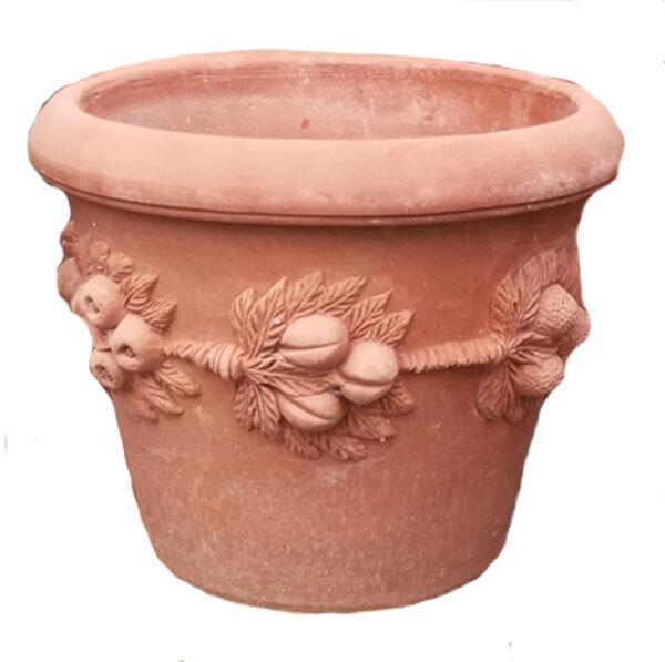 Vaso con frutta - Terracotta-Topf mit Früchten