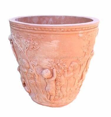 Vaso Diana - Terracotta-Topf mit Dekor