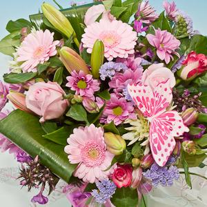 Pastel Pink Handtied Aqua Bouquet