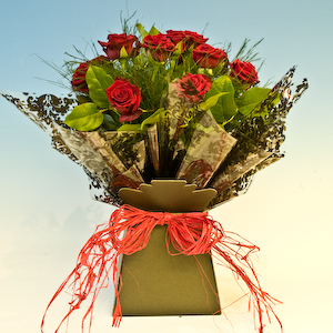 Dozen Red Rose Handtied Aqua Bouquet