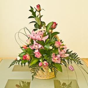 Pink Orchid Basket