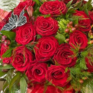 Luxury Red Rose Handtied Aqua Bouquet