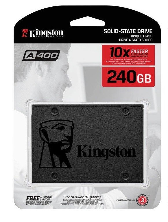 "Kingston SSDNow A400 240GB Internal Solid State Drive for laptop 2.5"" sata slot"