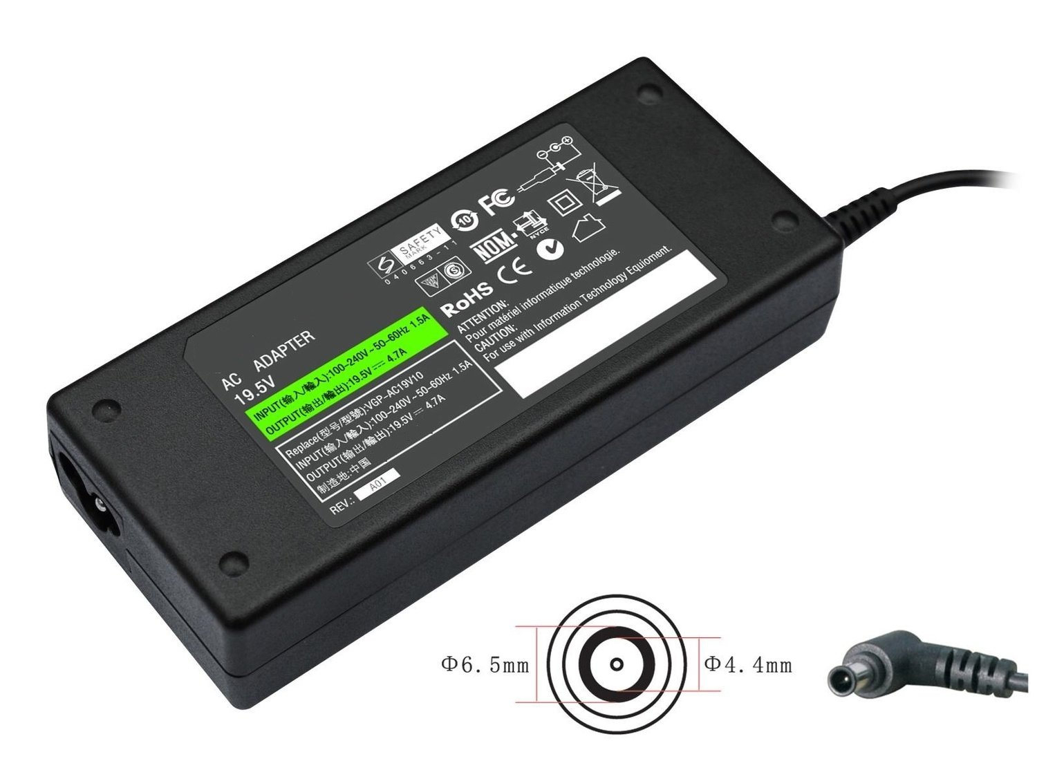 sony vaio R505, GRX, GRS, GRV, FR, NV Series Compatible Laptop charger / AC power Adaptor