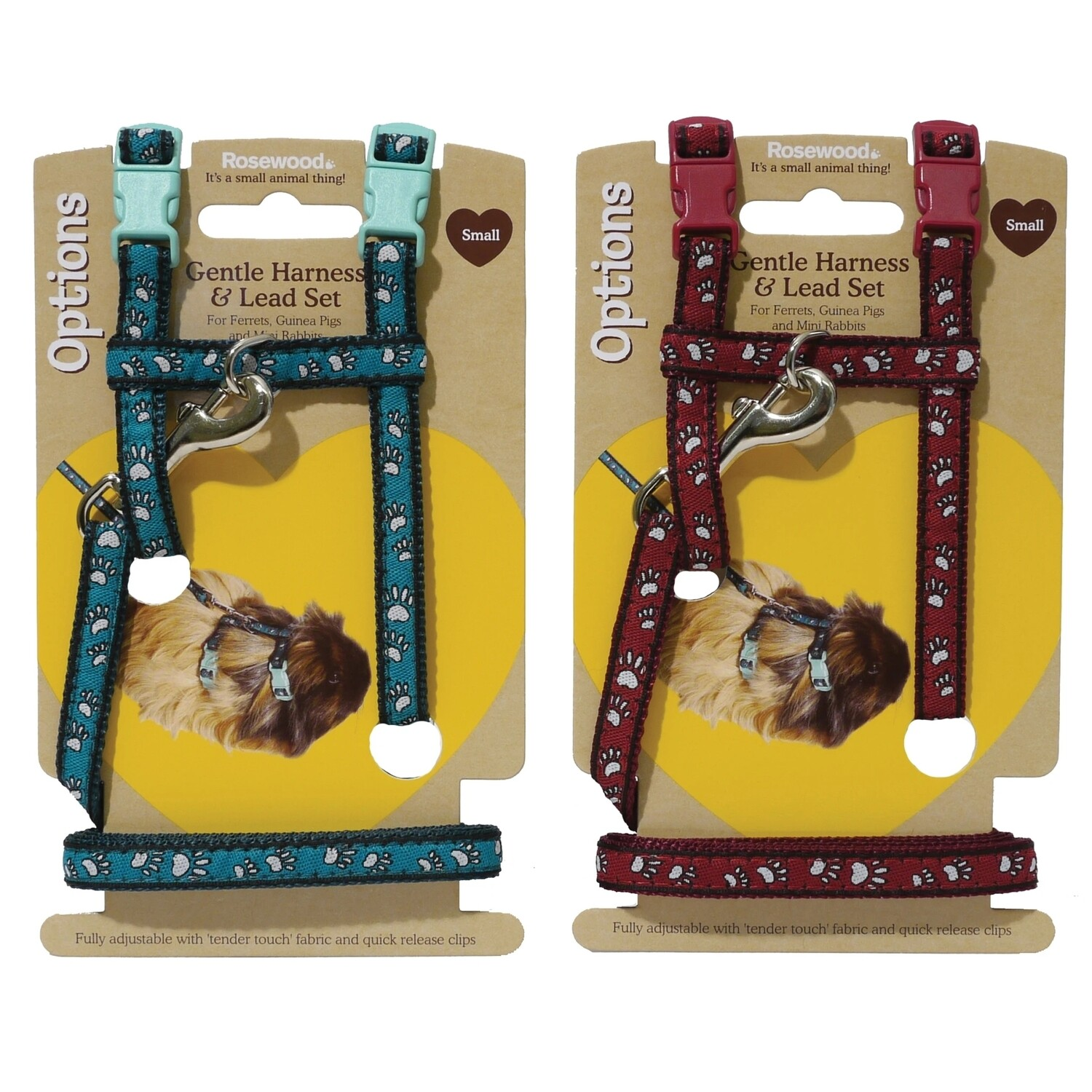 Paw Print Small Animal Harness and Lead Small