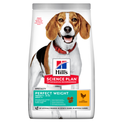 Hill's Science Plan Adult Perfect Weight Medium Dry Dog Food Chicken Flavour 12kg