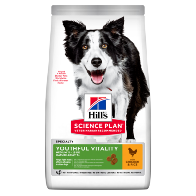 Hill's Science Plan Adult 7+ Youthful Vitality Medium Dry Dog Food Chicken Flavour